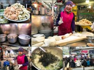 Südkorea | Seoul, Gwangjang Market: ein tolles Erlebnis Wantan-Noodle-Soup an diesem Stand. Collage der Zubereitung