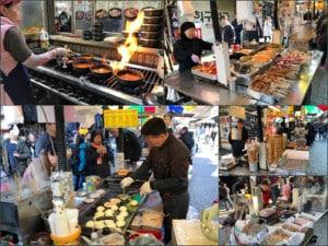 Südkorea | Seoul, Street Food auf dem Namdaemun Market. Eindrücke verschiedener Stände mit Essen