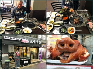 Südkorea | Seoul, Korean BBQ Restaurant, ein Muss in Korea. Eindrücke vom Tischgrill mit verschiedenen Zutaten