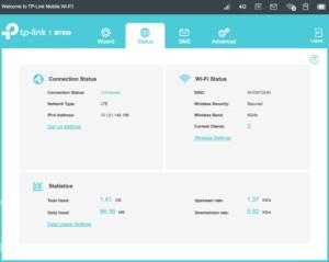 Test TP-Link M7650 | Web-Interface des mobilen Wifi-Router mit zahlreichen Menüs und Einstellungen
