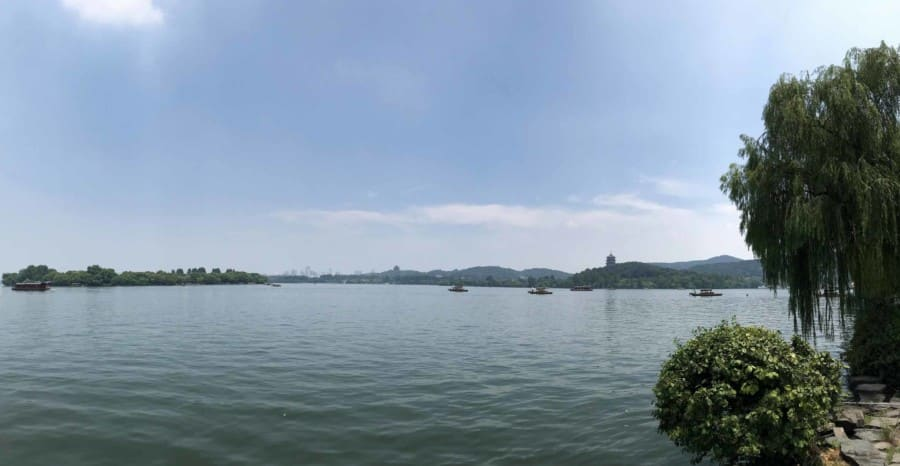 Interessante Orte in Hangzhou: Panorama des Westsee, West Lake im Süden