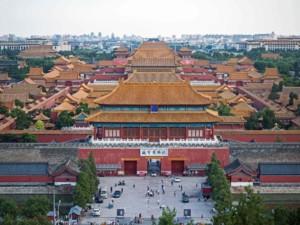 Ausblick vom Jingshan Park auf die Verbotene Stadt in Peking