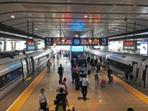 Abfahrtsgleise der South Railway Station, Südbahnhof in Peking