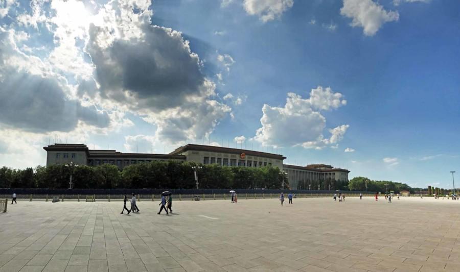Panorama der Großen Halle des Volkes auf der Westseite des Tiananmen Platz