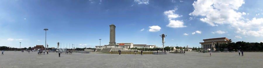 Hauptstadt Peking: Panorama des Tiananmen Platz oder Platz des himmlischen Frieden