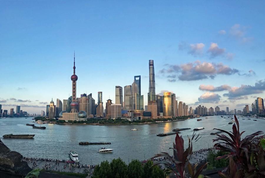 Shanghai Aussichtsplattformen: Aussicht von der der Bar Rouge auf Pudong