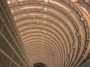 Der Weg nach oben zur Cloud 9 Bar im 87. Stock des Grand Hyatt Hotel
