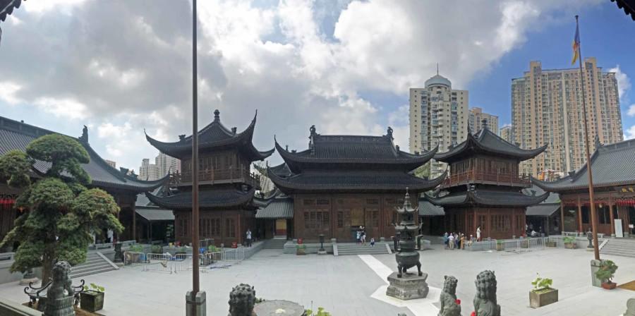 Panorama im Jade Buddha Tempel in Shanghai