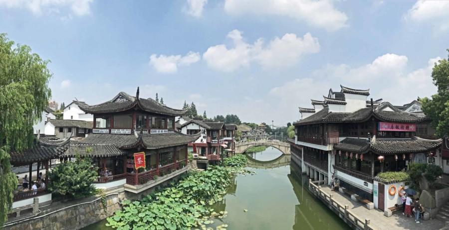 Panorama in der Wasserstadt Qibao
