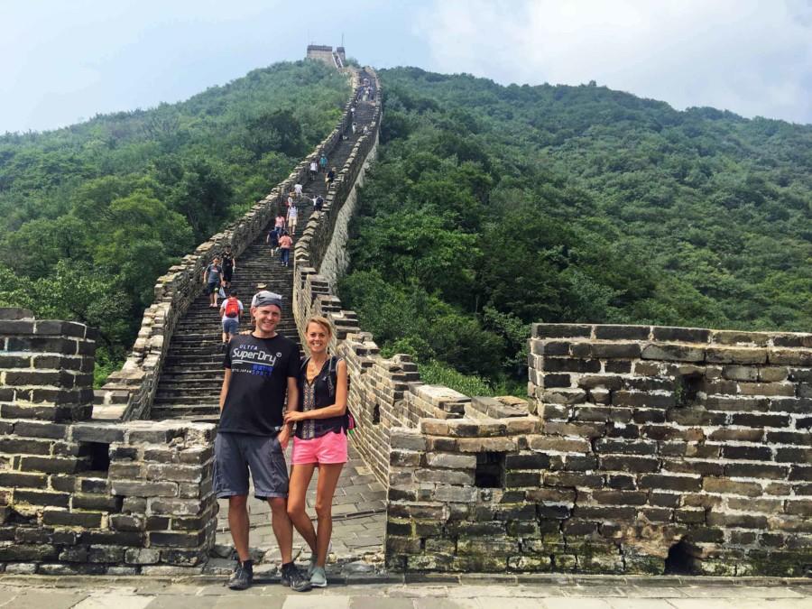 Große Mauer Peking Abschnitte Chinesische Mauer Länge: Wir haben es geschafft und sind nach 5 Stunden Wandern am Ziel in Mutianyu