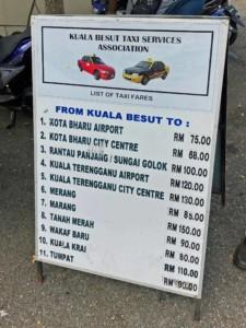 Taxi Preise am Pier in Kuala Besut bei Ankunft Perhentian Islands