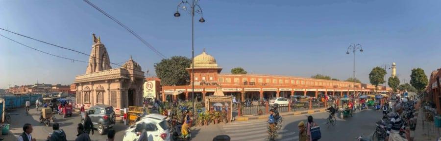Panorama der rosaroten Altstadt von Jaipur
