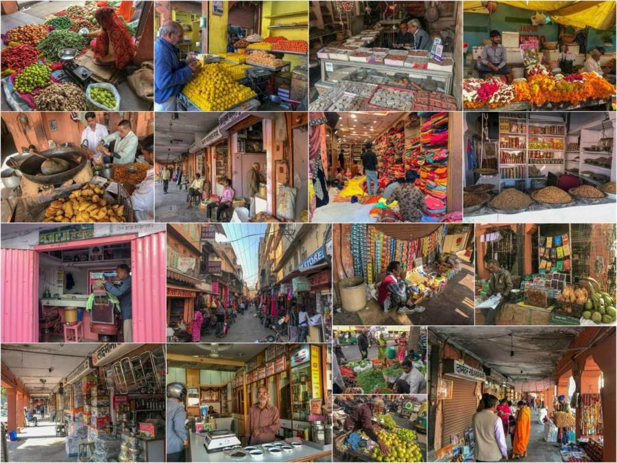Eindrücke des Bazars in Altstadt von Jaipur, der Pink City