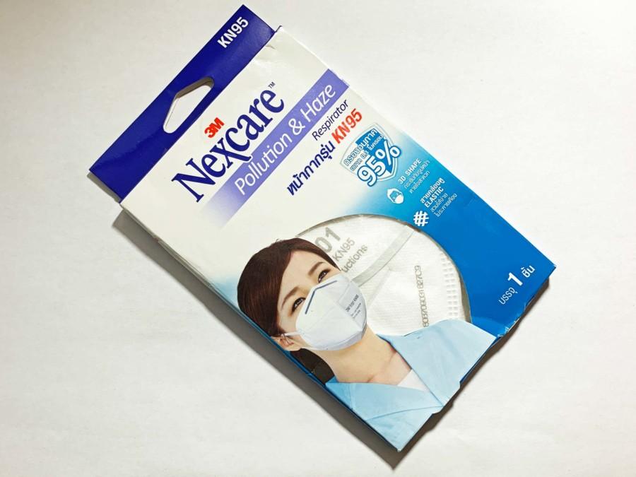 Verpackung einer handelsüblichen Maske zum Schutz der Atemwege bei Luftverschmutzung