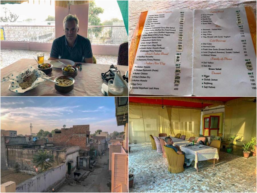 Essen im Bungli Restaurant in Nawalgargh: Collage mit Speisekarte, Blick vom Balkon und dem Restaurant
