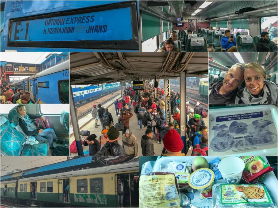 Eindrücke der Fahrt mit dem Zug von Delhi nach Agra zum Taj Mahal