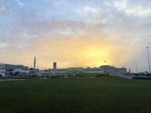 Sehenswürdigkeiten Doha: hier Amiri Diwan, der Clock Tower und die Al-shaykh mosque, Moschee bei Sonnenuntergang