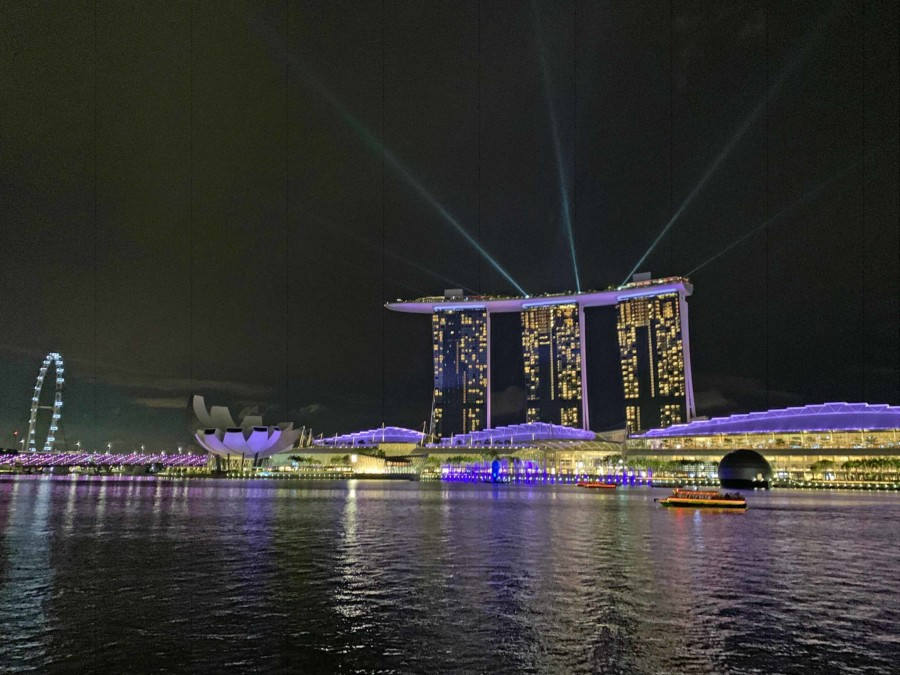 Die Lightshow des Marina Bay Sands
